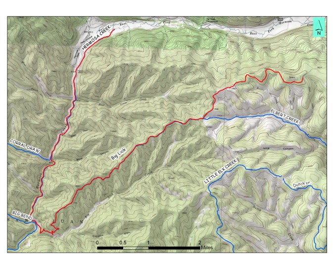 A topographic map of Big Lick Trail that's delineated in red. Map courtesy of GIS Specialist Ben Bain.