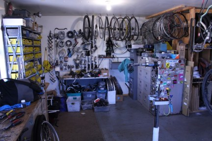 A bone yard of used parts at Durango Cyclery.