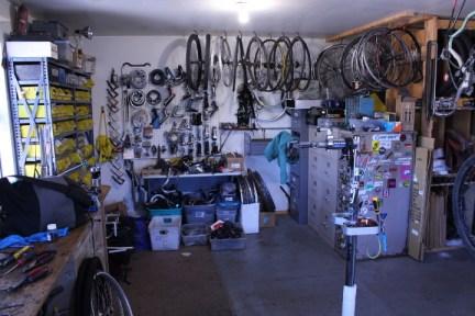 A bone yard of used parts at Durango Cyclery.
