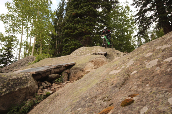 Rider Adam Howell takes a second attempt on Psycho Rocks Trail at Evolution Bike Park.