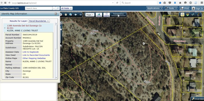 This trail layer on La Plata County GIS shows trails on Anne Klein's property that do not exist on Klein's map of the trail easement.