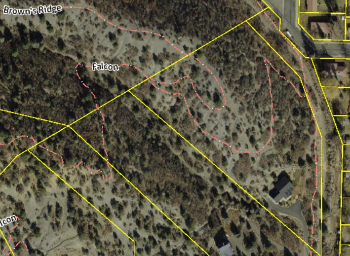 This screenshot from January 6, 2016 shows that segments of the Falcon Trail that existed in a layer of La Plata County GIS last week are now gone.
