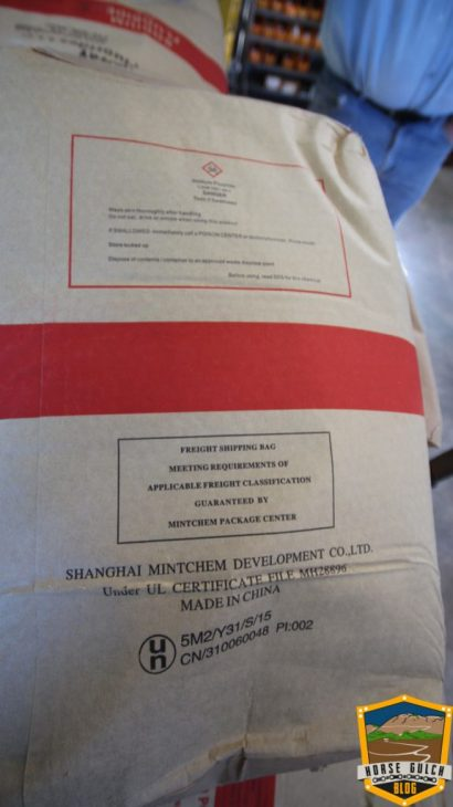 This is the back of a Solvay brand sodium fluoride bag at the City of Durango's Water Treatment plant in January, 2017.