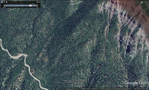 A satellite image from June  of 2012 shows the lower portion of the Long Hollow Trail in existence.