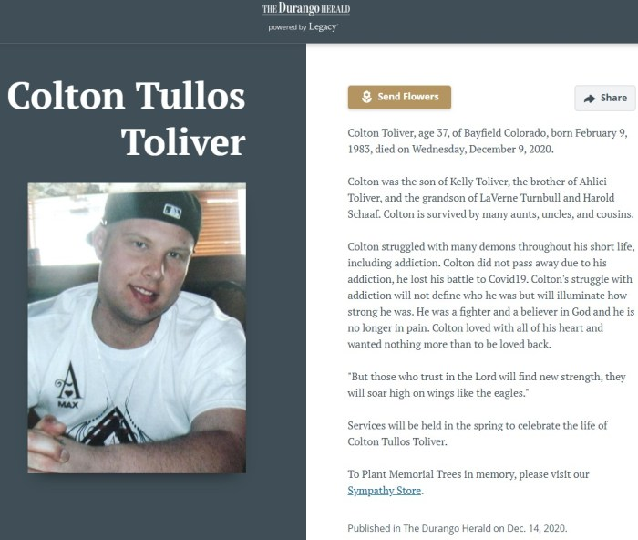 Colton's obituary misreported Oliver's cause of death