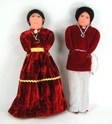 Native American Navajo Indian dolls Velvet Dress Painted