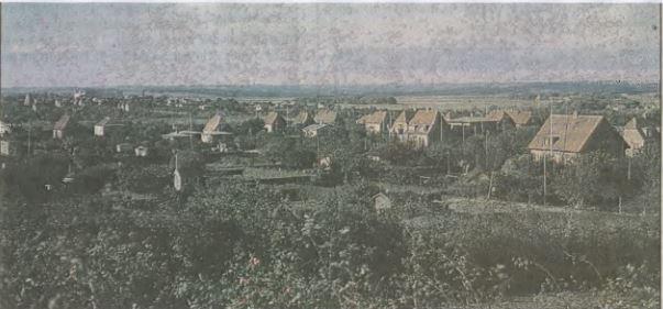 Udsigt fra kolonihaverne mellem Østergade og Ane Staunings Vej. I dag vile Horsens Handelsskoles bygninger optage det meste af billedfeltet. I baggrunden kan man tydeligt se Statsfængslet.