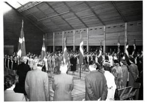 Gymnastikopvisning i Sønderborghallen 1950