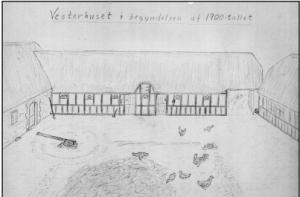 Vesterhuset i begyndelsen af 1900-tallet. Tegning af Thomas Jørgen Iversen