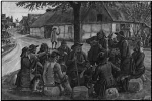 Afgørelser af fælles anliggender drøftes med oldermanden som formand. Akvarel af Rasmus Christiansen (1863-1940)