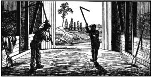 Kornets tærskning udførtes med håndkraft og plejl. Tegning af G. Knudsen.