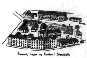 Østergaards Frøavl, før branden i 1952.