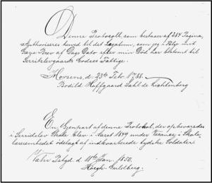 Første side i en protokol vedr. et legat, der er oprettet af enke Bodil Hoffgaard Sahl de Lichtenberg, på 40 rigsdaler pr. år til 8 fattige i Nebel sogn. (Beskåret af hensyn til læsbarhed)