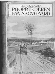 """Forside af romanen """"Proprietæren paa Skovgaard""""."""