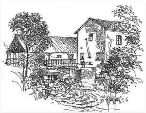 Mogens Schou Christiansen tegnede Hansted mølle i 1987.