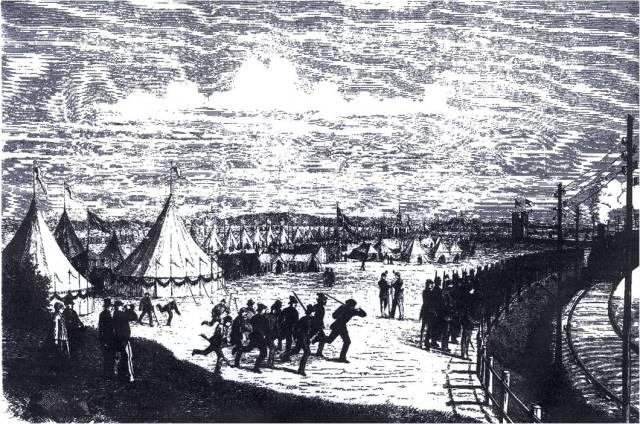Tegning fra Illustreret Tidende af Horsensfesten 1869