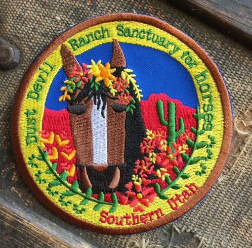 """4"""" Embroidered Horse Patch - Dust Devil Ranch Sanctuary for Horses"""