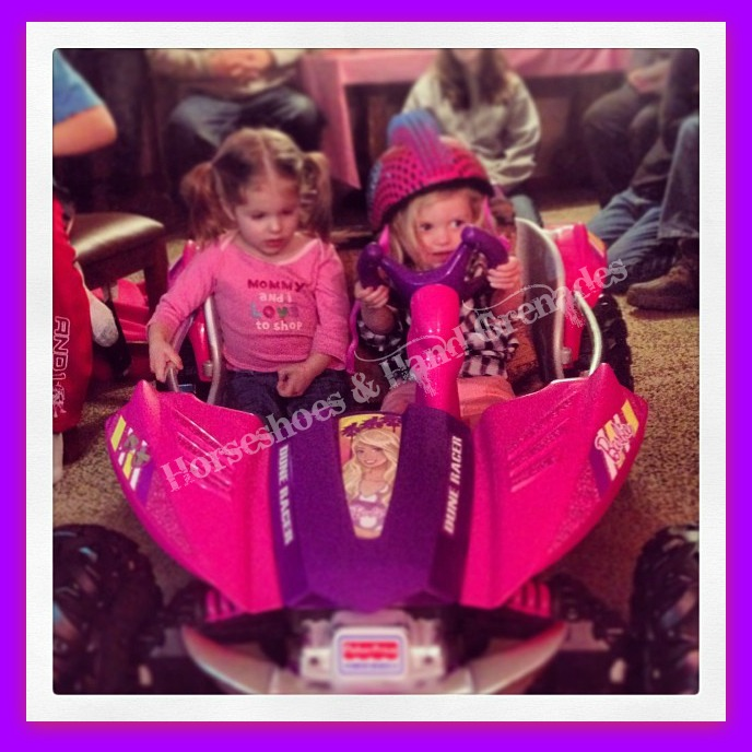 Driving the new Dune Racer with her cousin Abby.