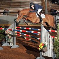 Happy Z and Genn fly over an oxer in the $25,000 Johnson Horse Transportation Grand Prix