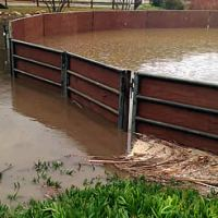 Even while riders enjoyed schooling in the OTTO Sport arena at Arroyo Del Mar, the facility's round pen - without the OTTO Sport arena system provided by Premier Equestrian - was rendered unusable after the intense El Niño storms.