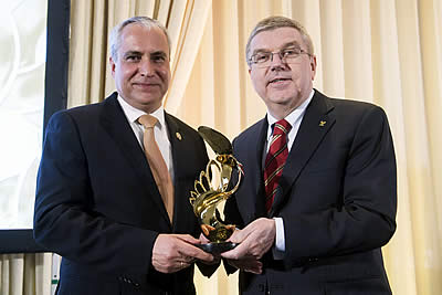 Sky Is the Limit for Equestrian Sport as IOC President Presents Special Trophy to FEI President