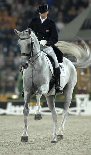 Andreas Helgstrand and Blue Hors Matiné during their silver-medal winning Kur performance at the 2006 World Equestrian Games in Aachen.