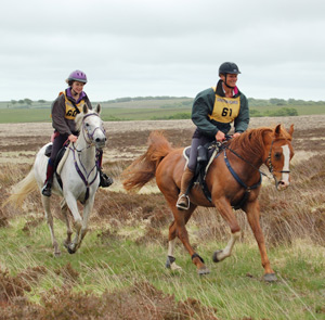 Mary King and Mellow Jazz and Abby Chisholm on Withypool Common at last year's Golden Horseshoe Ride.