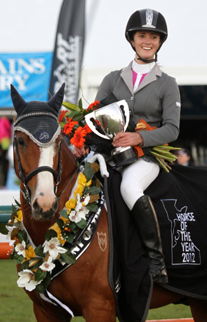 Tegan Newman and Kaimanawa horse Watch Me Move won the 2012 Show jumping Pony of the Year title at the Horse of the Year.