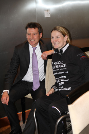 Claire Lomas with Lord Coe.