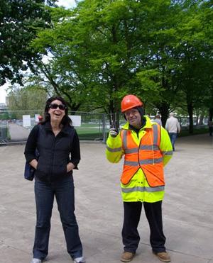 Kirsty and the helpful Polish workman.