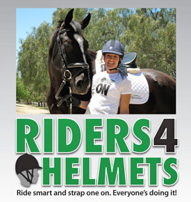 """riders4helmets urges equestrians to """"strap one on""""."""