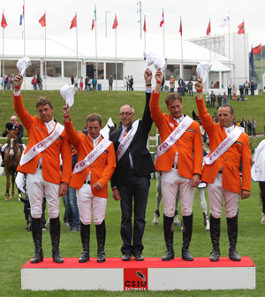 The victorious Dutch team of Jeroen Dubbeldam, Gerco Schroder, Rob Ehrens (Chef d'Equipe), Marc Houtzager and Leon Thijssen on the podium after winning the third leg of the FEI Nations Cup 2012 at St Gallen, Switzerland.