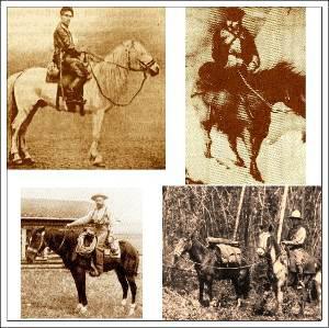 The four greatest Long Riders. Clockwise from top left: Dmitri Peshkov, Baron Yasumasa Fukushima, Roger Pocock and Aimé Tschiffely