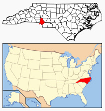 Map showing location of Mecklenburg County in North Carolina.