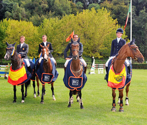 The winning Spanish team after the fifth leg of the FEI Nations Cup Eventing competition: from left, Carlos Diaz Fernandez, Marti Sala Bayes, Albert Farras Hermoso and Maria Pinedo.