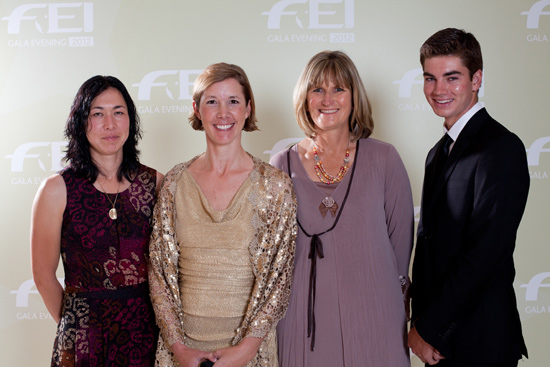 Winners of the FEI Awards 2012 in Istanbul. From left to right: Celia Rijntjes (NED), Courtney King-Dye (USA), Sharon Boyce (RSA), and Thomas McDermott (AUS).