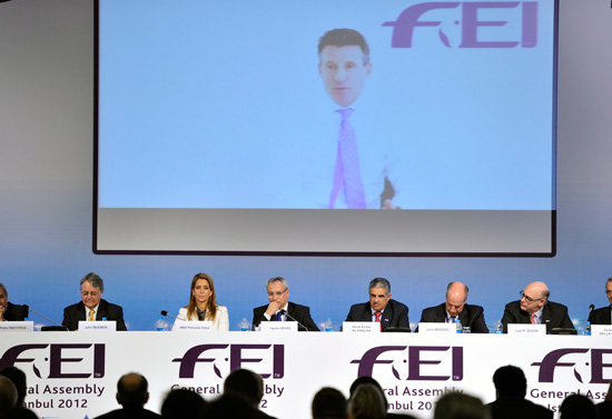 London Games organising committee chairman Lord Sebastian Coe addresses the FEI General Assembly via video link.