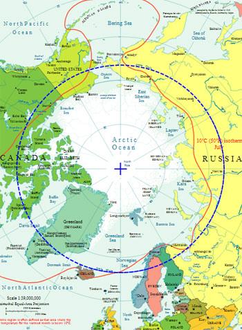 The blue line denotes the Arctic Circle.