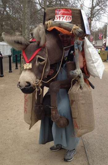 Nic Van Gelder completed the London Marathon in a 17kg donkey costume in 6 hours and 48 minutes.