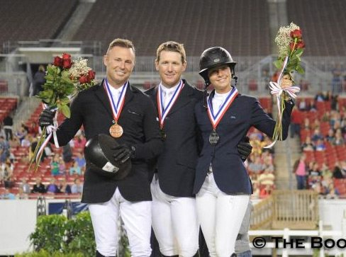 McLain Ward stands center as the victor of the 2013 Gene Mische American Invitational, while second place Reed Kessler (right) and third place Sharn Wordley (left) celebrate their top three finishes in the class.
