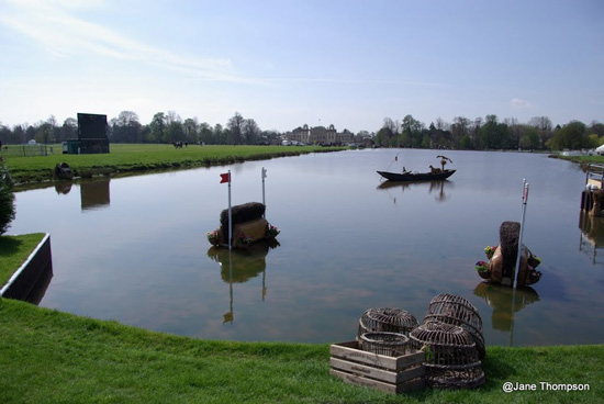 The weather is on song for this year's Badminton Horse Trials, unlike last year's efforts (below).
