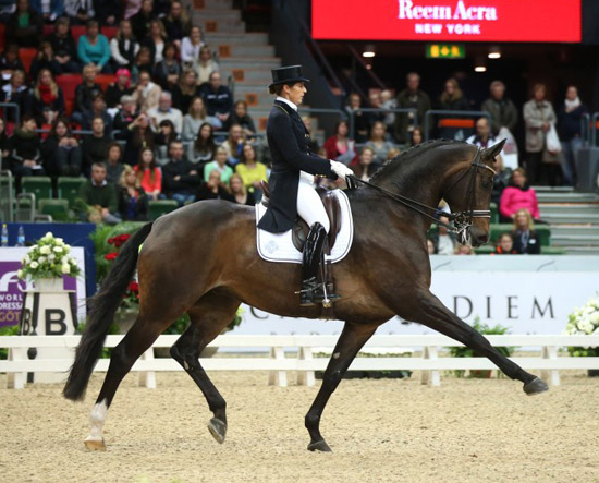 Tinne Vilhelmson-Silfven and Don Auriello heads the Swedish team for the opening leg of the FEI Nations Cup Dressage in Vidauban, France, on Friday. Roland Thunholm/FEI