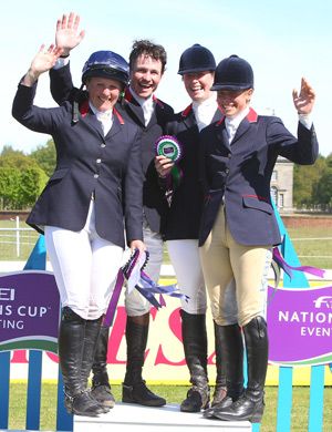 The winning British team at the Houghton Hall leg of the FEI Nations Cup™ Eventing: Gemma Tattersall, Francis Whittington, Emily Llewellyn, and Izzy Taylor.