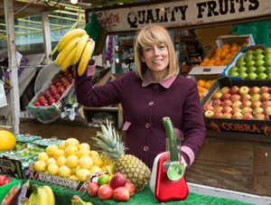 Actress and cookery writer Fay Ripley launches Tefal's Fresh Week in London's Berwick Street market. Fresh Week encourages the British public to give up ready meals and convenience food from 13-19 May in favour of fresh eating.