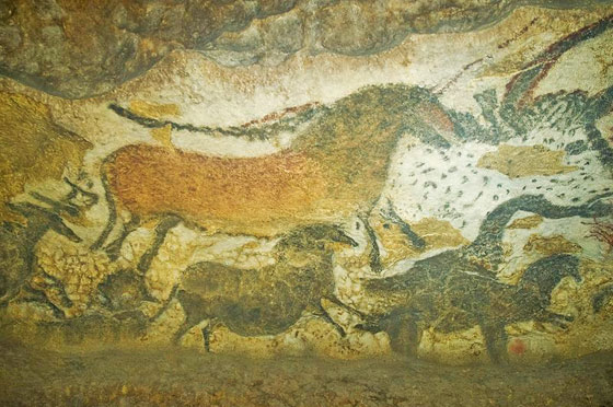 Ancient paintings from the Lascaux caves in France.