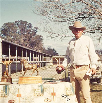 R.M. Williams with the Quilty trophies in 1968.