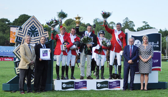 The victorious German team on the podium at Hickstead.