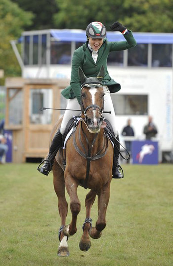 Aoife Clark celebrates on Fenya's Elegance after going clear to win the Blenheim Horse Trials 3* event.