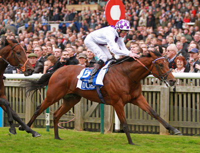 Parish Hall wins the Group 1 Dubai Dewhurst Stakes at Newmarket in October 2011 for owner/breeder/trainer Jim Bolger. Northern Dancer is prominent on both the sire and dam side of his pedigree.