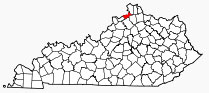 Map showing location of Gallatin County in Kentucky.